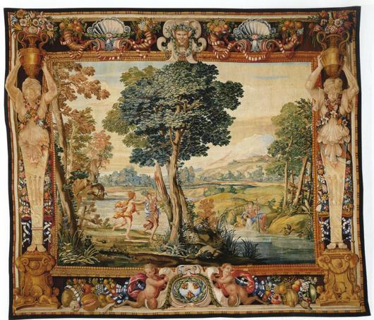 Barberinische Manufaktur nach Clemente Maioli: Apoll und Daphne, 1659-60, Tapisserie, 420 x 470 cm, Lausanne, Fondation Toms Pauli.