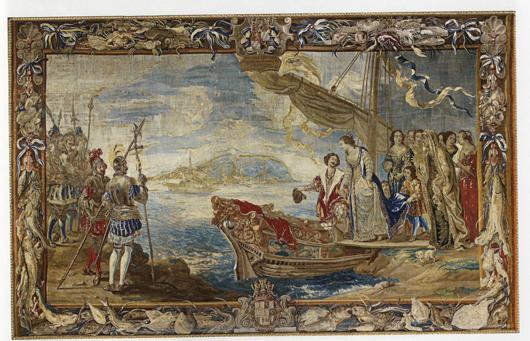 Manufaktur des Albert Auwercx nach Willem van Herp und Jan Kessel: Königin Maria verlässt Catania, 1699-1708, Tapisserie, 407 x 665 cm, Paris, Chambre de Commerce et d'Industrie.